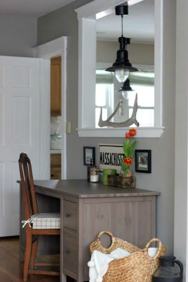 Small home office nook - love the industrial pendant light kellyelko.com