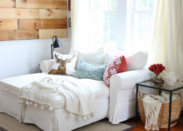 Love the wood accent wall and white chaise lounge kellyelko.com