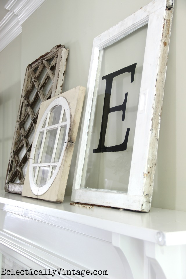Antique window decor - perfect as a collection propped on a mantel kellyelko.com