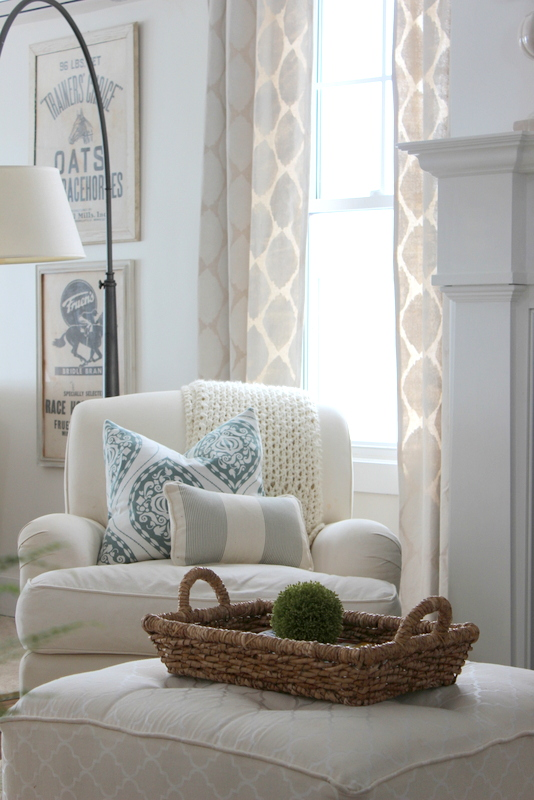 Cozy reading nook - love the neutral fabric and texture kellyelko.com