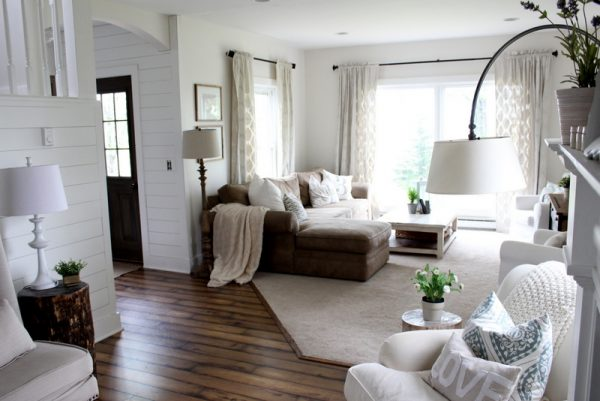 Cozy family room - love the open floor plan, plank walls and dark wood floors kellyelko.com