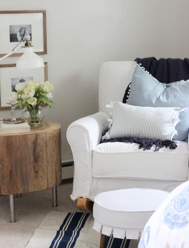 Cozy reading nook with DIY stump table