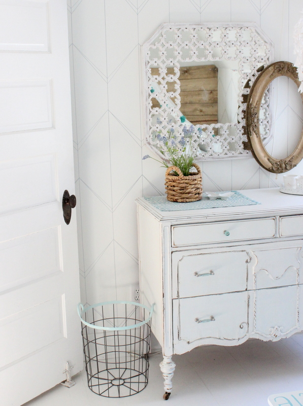 Chippy painted dresser in a little girls room kellyelko.com