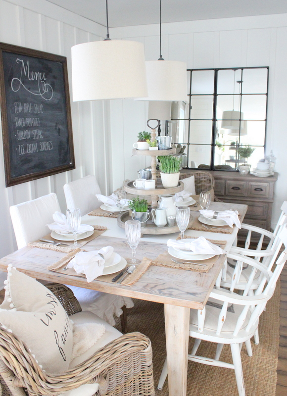 Country casual dining room  - love the bead board walls, double chandeliers and huge mirror kellyelko.com