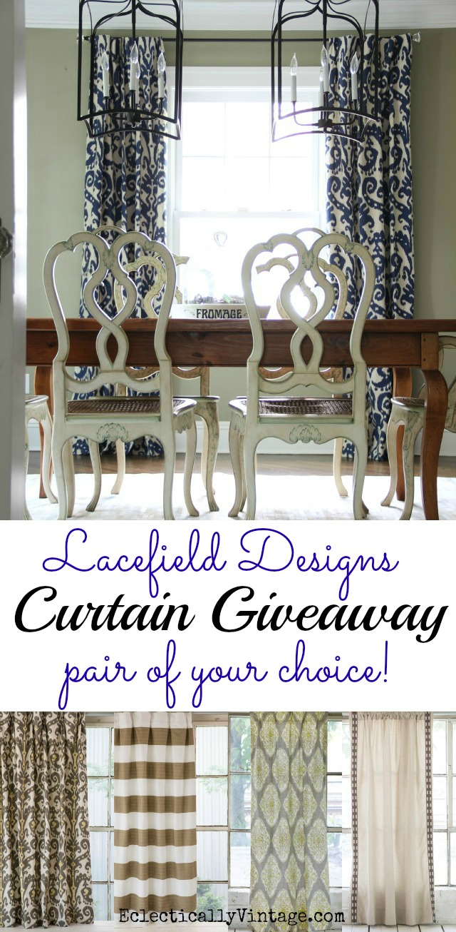 Lacefield Designs Curtain Giveaway - your choice of any color, pattern and size! kellyelko.com