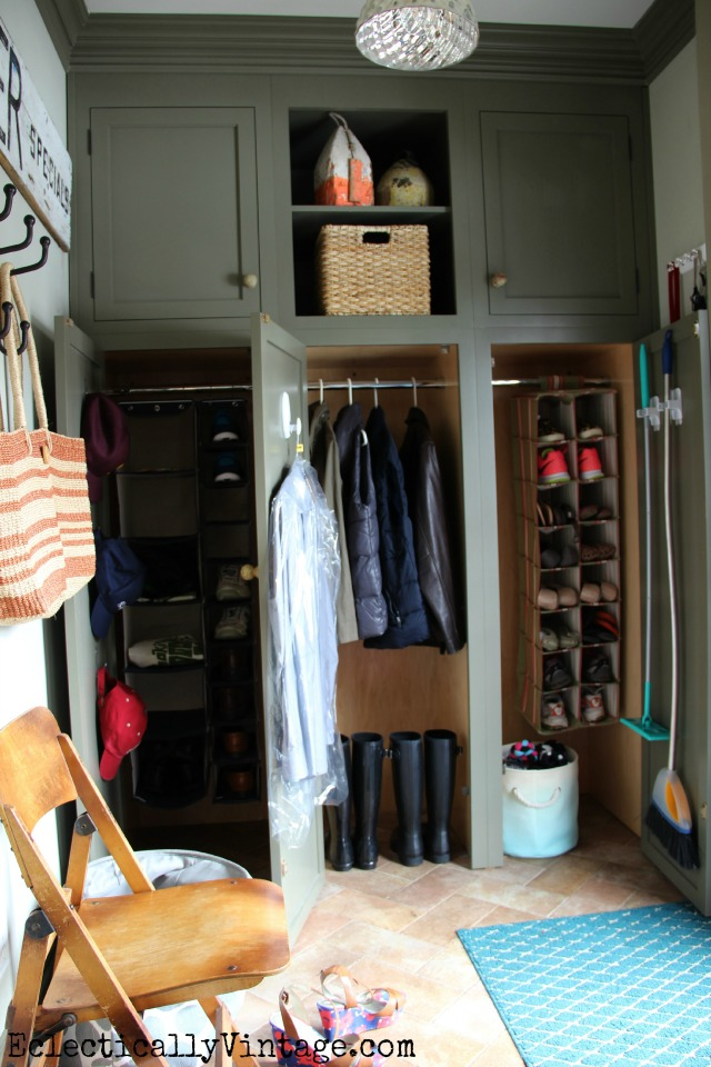 Love these creative mudroom organization ideas kellyelko.com #DamageFreeDIY
