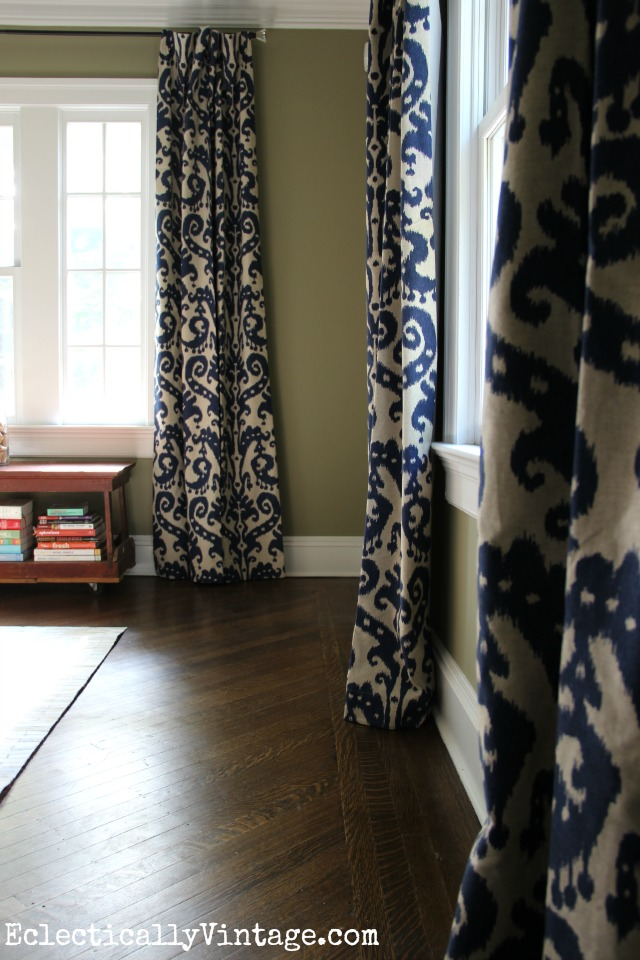 Love the drama these blue marrakesh ikat curtains add to this beautiful dining room kellyelko.com