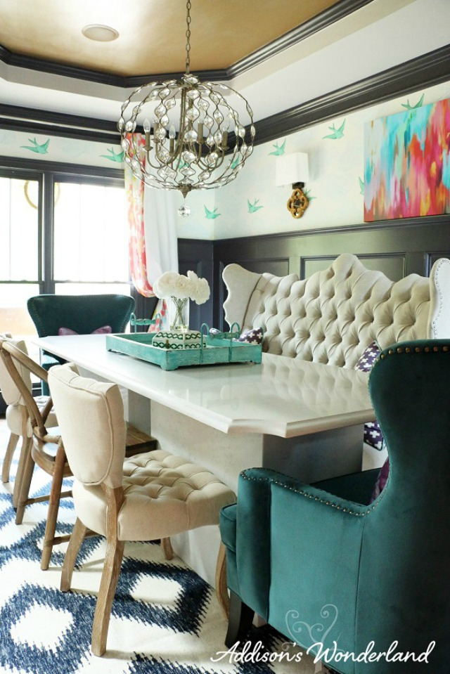 Love this colorful mix of patterns in this one of a kind dining room kellyelko.com
