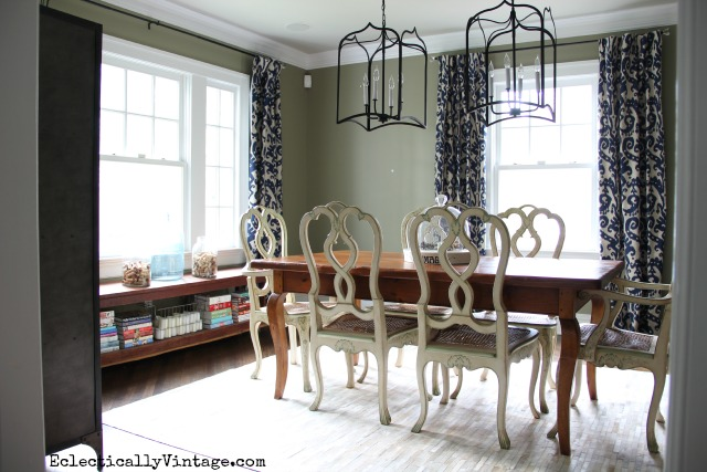 Love this eclectic dining room - the cowhide rug, farmhouse table, double lanterns and beautiful curtains kellyelko.com