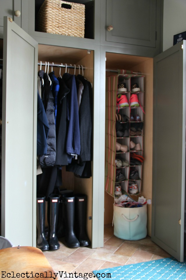 Love the idea of mudroom closets - perfect for hiding the mess kellyelko.com