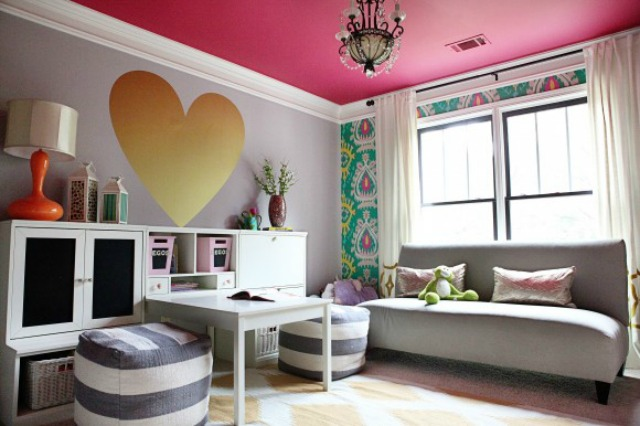 Love this cute playroom and the pink ceiling kellyelko.com
