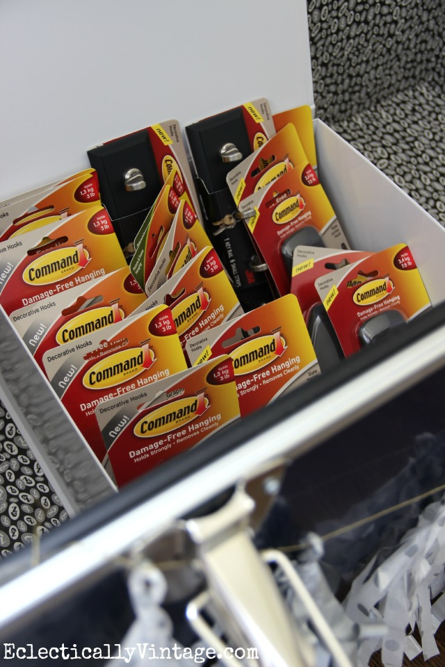 Fill up a box with Command products for your graduate to keep them organized kellyelko.com