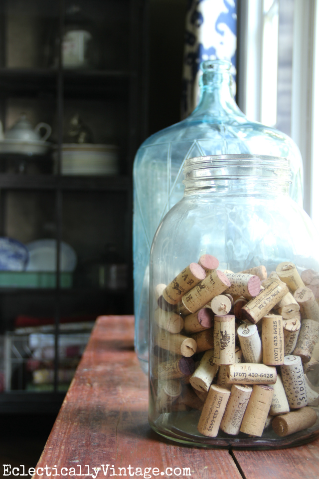 Cork display - love them filling up a big glass jar kellyelko.com