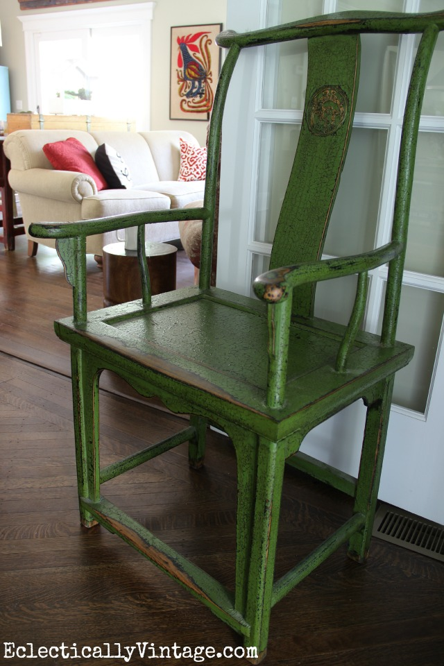 Love this green Asian chair eclecticallyvintage.com