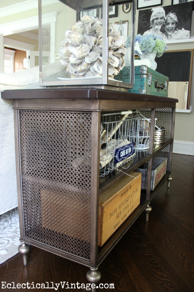 Love this sofa table - reminds me of a vintage radiator screen kellyelko.com