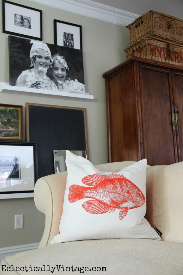 Cute orange fish pillow eclecticallyvintage.com