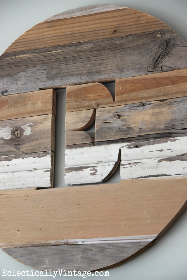 LOVE this rustic, reclaimed wood monogram kellyelko.com