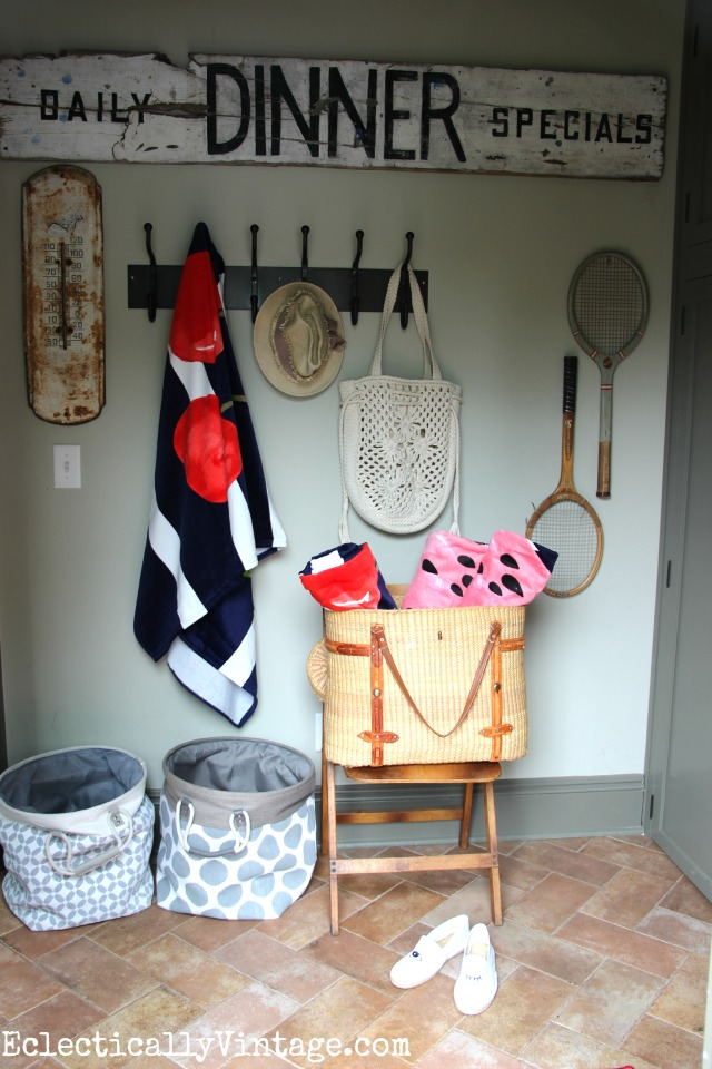 Love this mudroom storage eclecticallyvintage.com