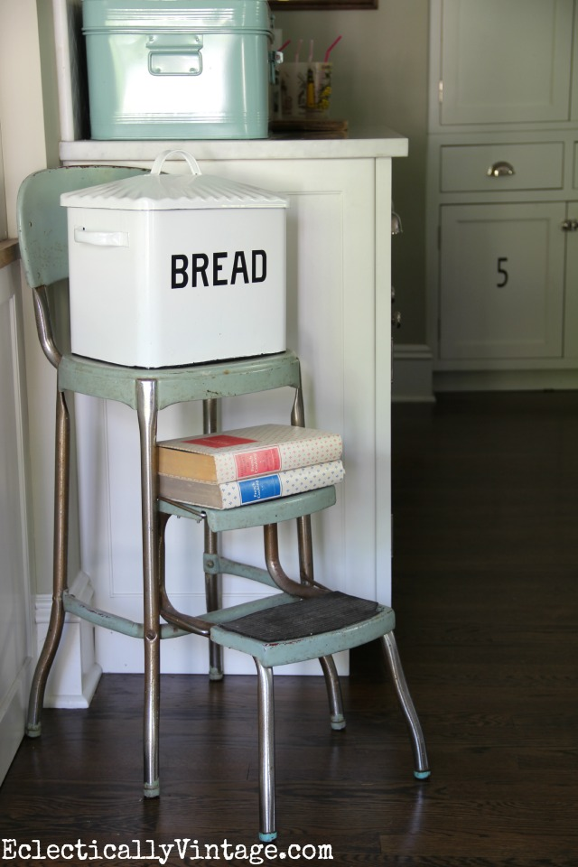 Love this kitchen - the old step stool with the bread box - such charming touches kellyelko.com