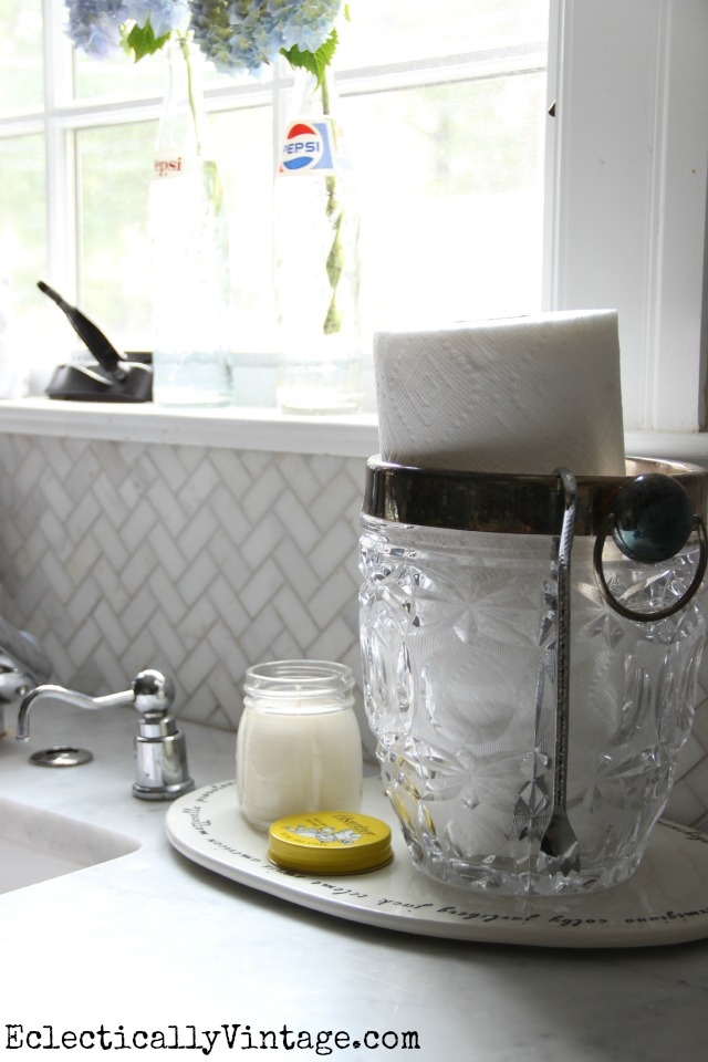 Love how she used a vintage ice bucket to hold paper towels eclecticallyvintage.com