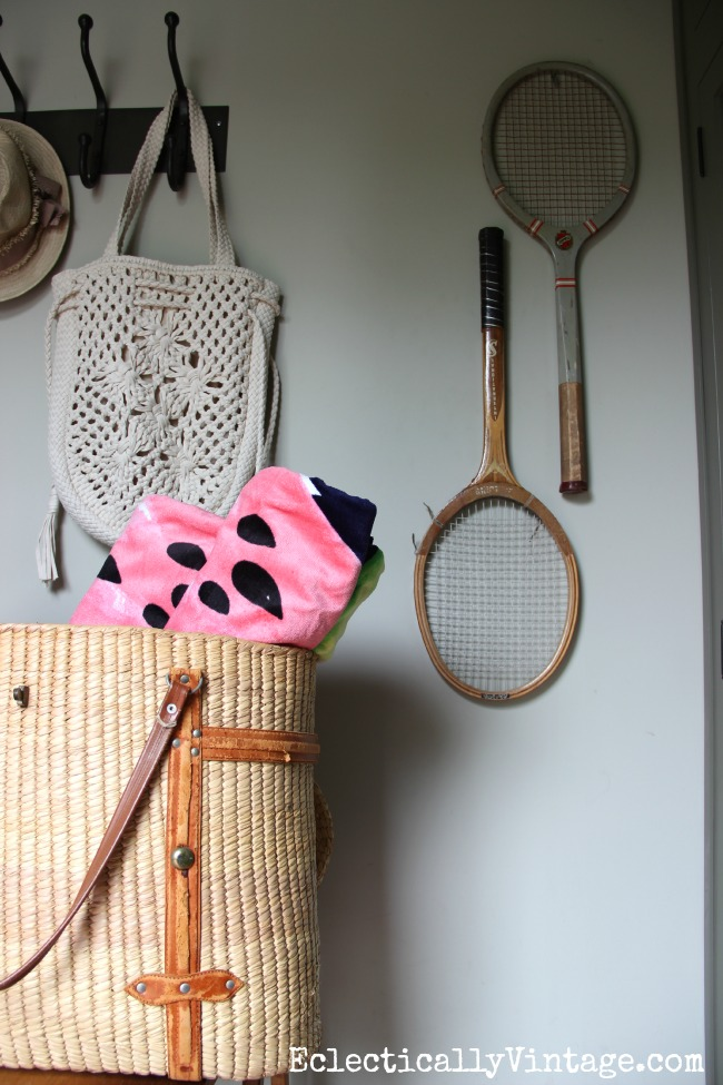 Hang vintage tennis racquets as art eclecticallyvintage.com