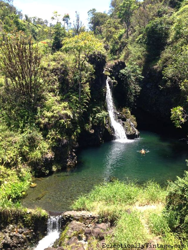 Waterfall on the Road to Hana in Maui, Hawaii kellyelko.com