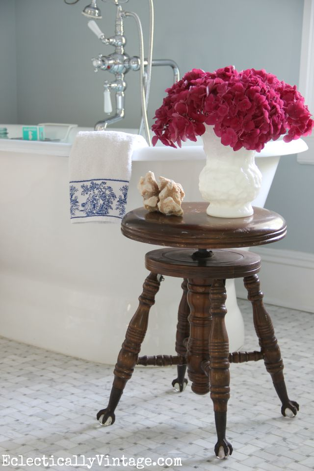 Love the freestanding bathtub, the marble floor in this vintage inspired master bathroom kellyelko.com