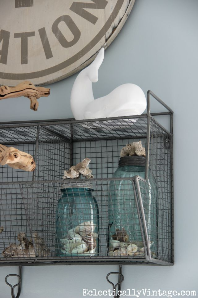 I love all of these beachy accessories - the shells, coral and blue mason jars kellyelko.com