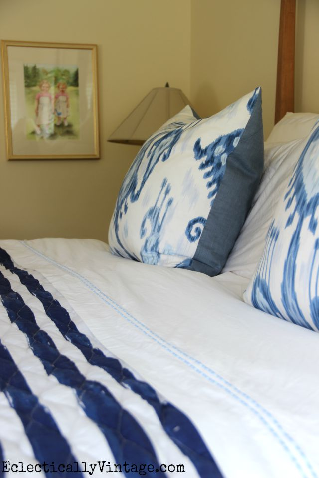 Love this blue and white bedding kellyelko.com