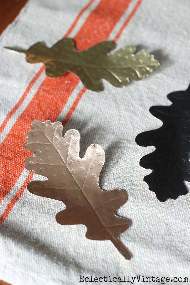 DIY Metal Leaves - seems so easy to emboss them for texture kellyelko.com