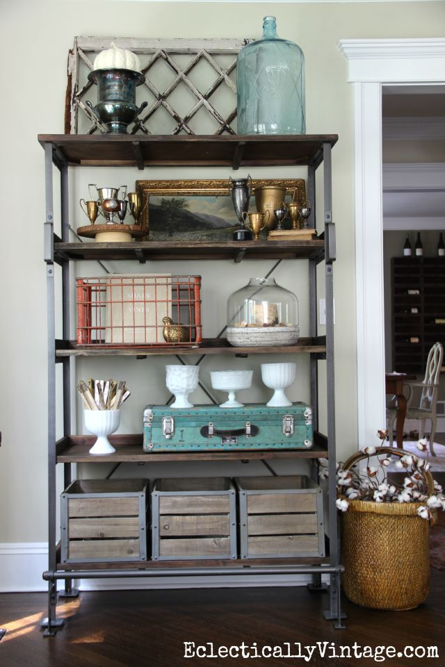 Open Shelving Display - love the look of this and how she added storage for clutter kellyelko.com