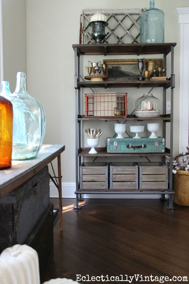 Love the artfully arranged open shelves and all of her great collections kellyelko.com