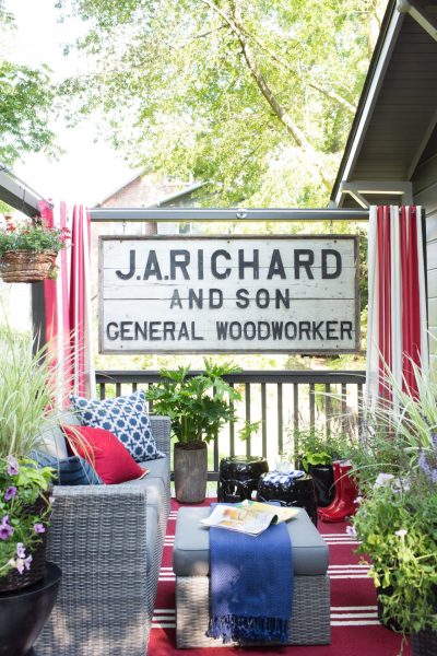 Vintage sign on an outdoor deck kellyelko.com