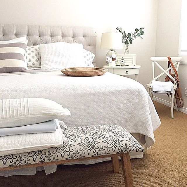 Love this neutral master bedroom and the tufted headboard kellyelko.com