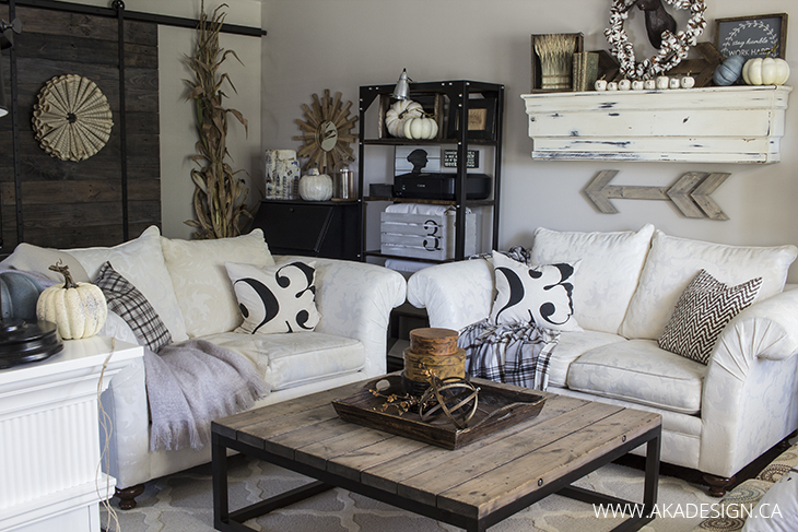 Cozy farmhouse living room decked out for fall