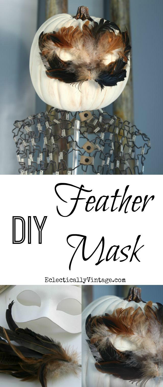 DIY Feather Mask Pumpkin - looks so cute on the vintage dress form! kellyelko.com