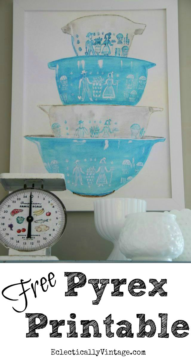 Free Watercolor Vintage Pyrex Printable - perfect art for any kitchen kellyelko.com