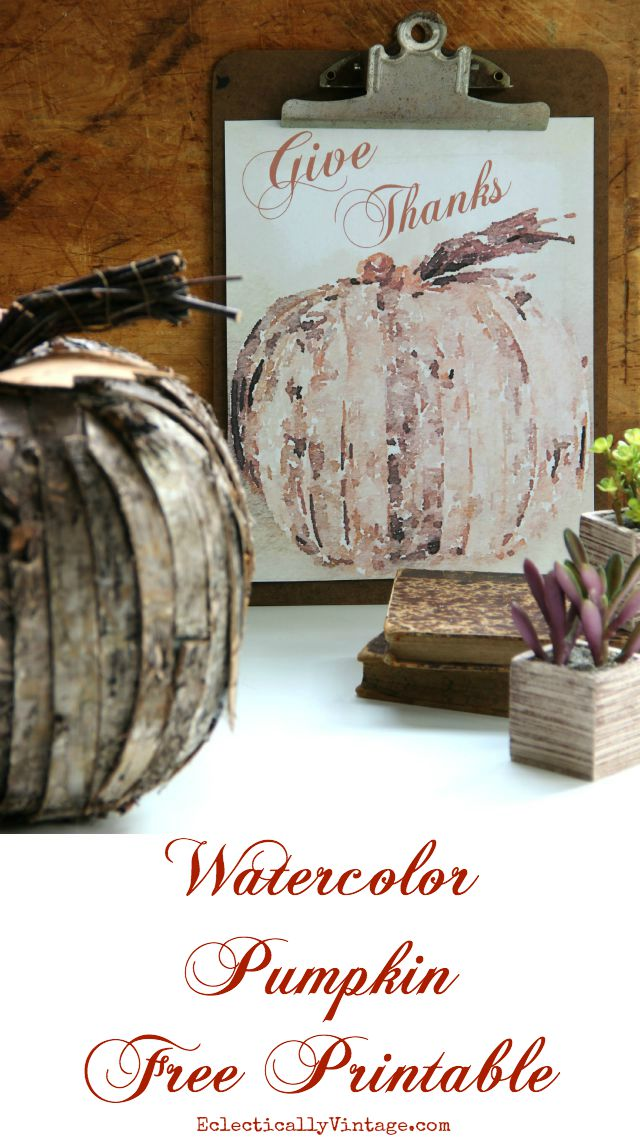 Watercolor pumpkin free fall printable - plus 22 more of the most amazing fall printables kellyelko.com