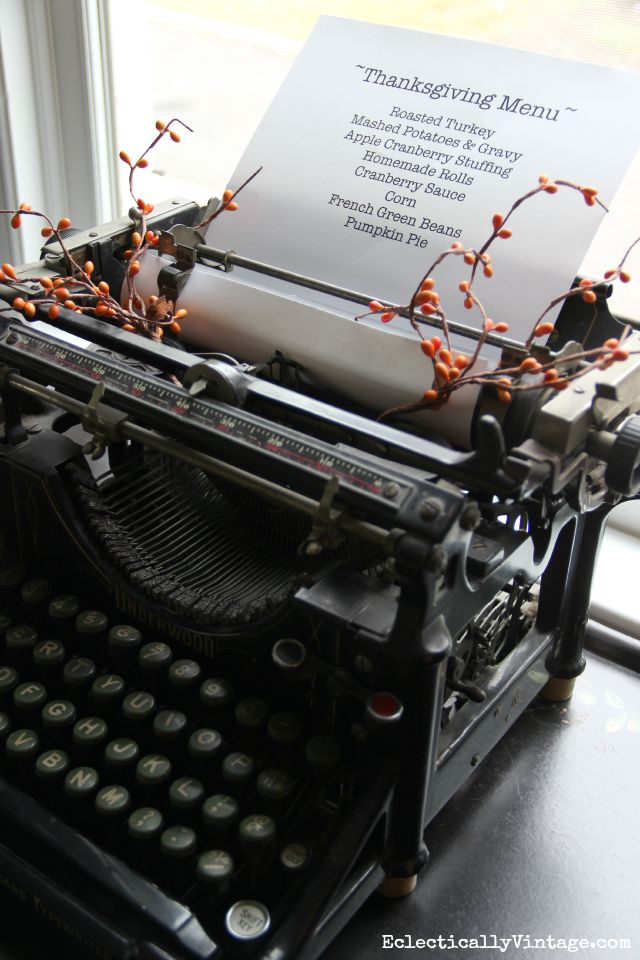 Love this Thanksgiving menu on an antique typewriter kellyelko.com