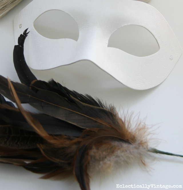 DIY feather mask supplies kellyelko.com