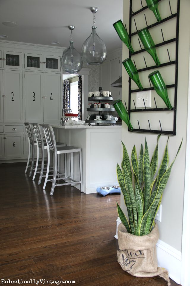Eclectic kitchen - love the bottle drying rack kellyelko.com
