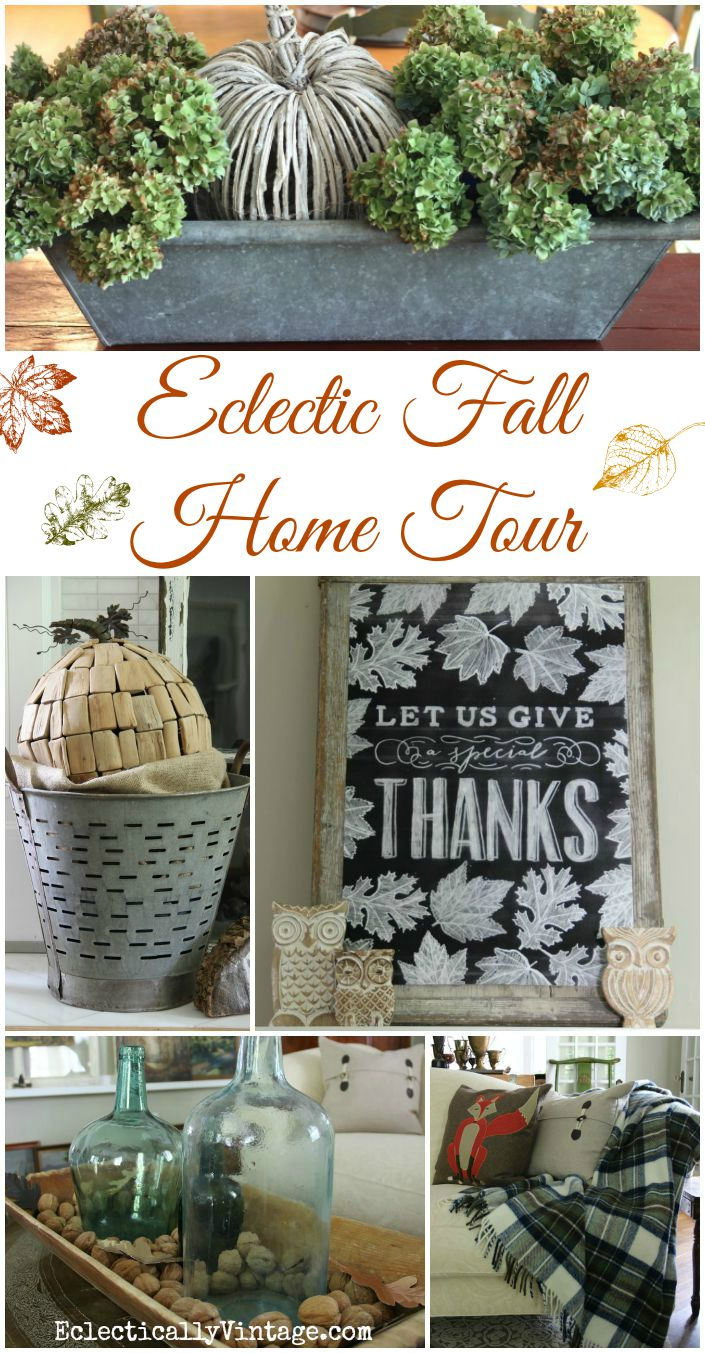 Eclectic Fall Home Tour - so many creative ideas! kellyelko.com