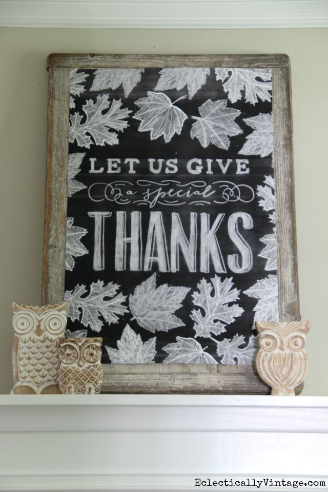 Fall Chalkboard Printable - what a beautiful mantel! kellyelko.com