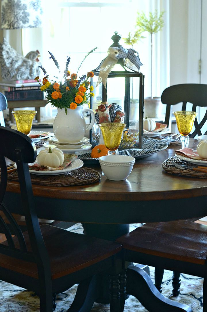 Beautiful fall dining room set for dinner