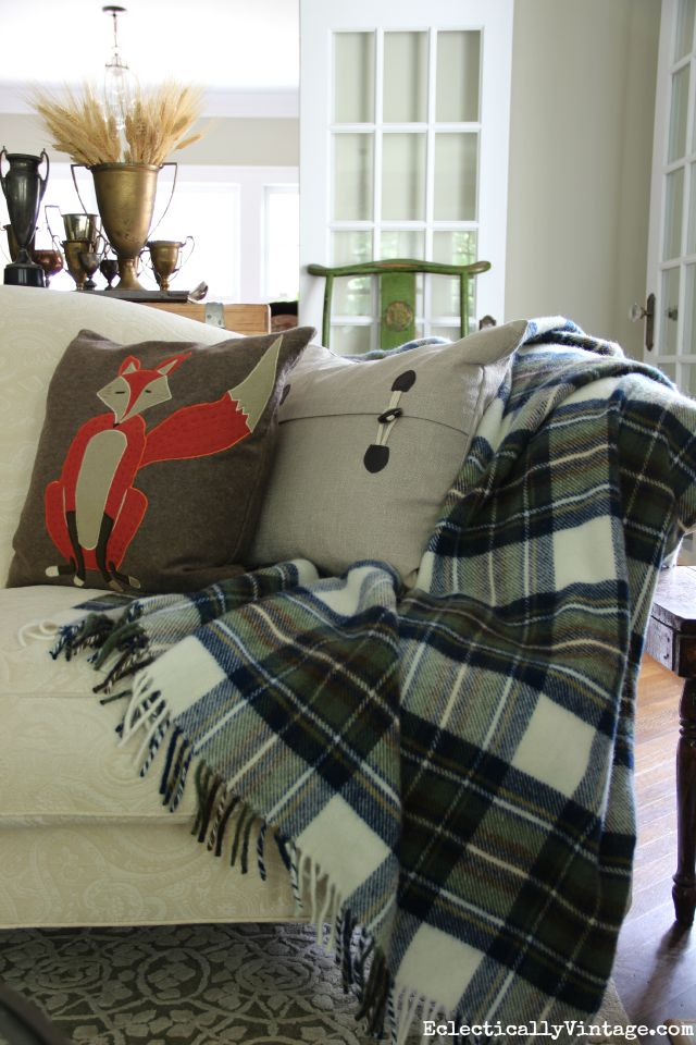 Cozy blue plaid throw and the cutest fox pillow for fall kellyelko.com