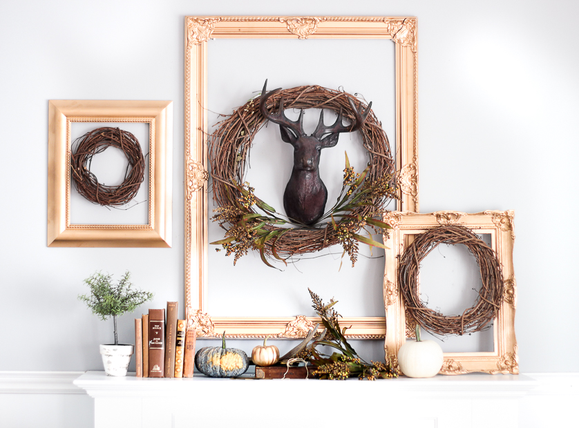 Love this fall mantel and the grapevine wreaths