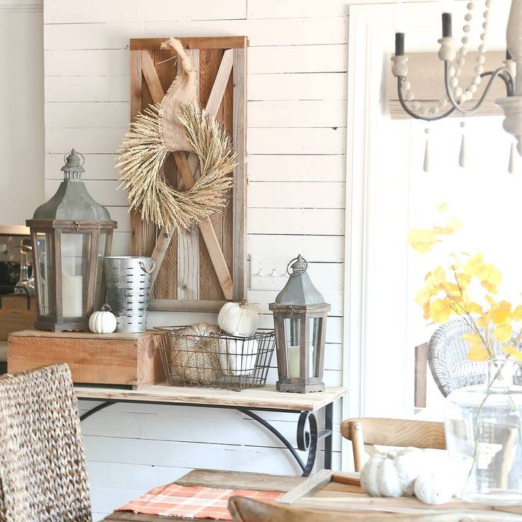 Neutral farmhouse fall decor kellyelko.com