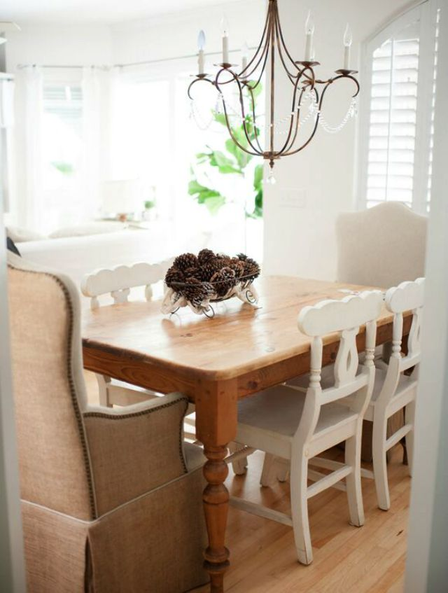 Farmhouse kitchen table and mismatched chairs