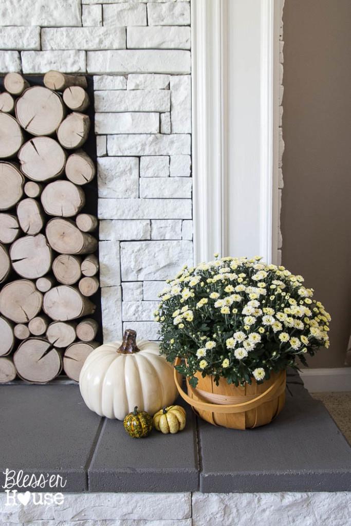 Log slice filled fireplace
