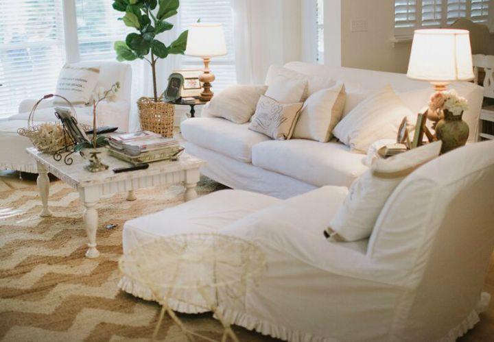 Cozy family room - love the white slipcovered furniture and the herringbone rug kellyelko.com